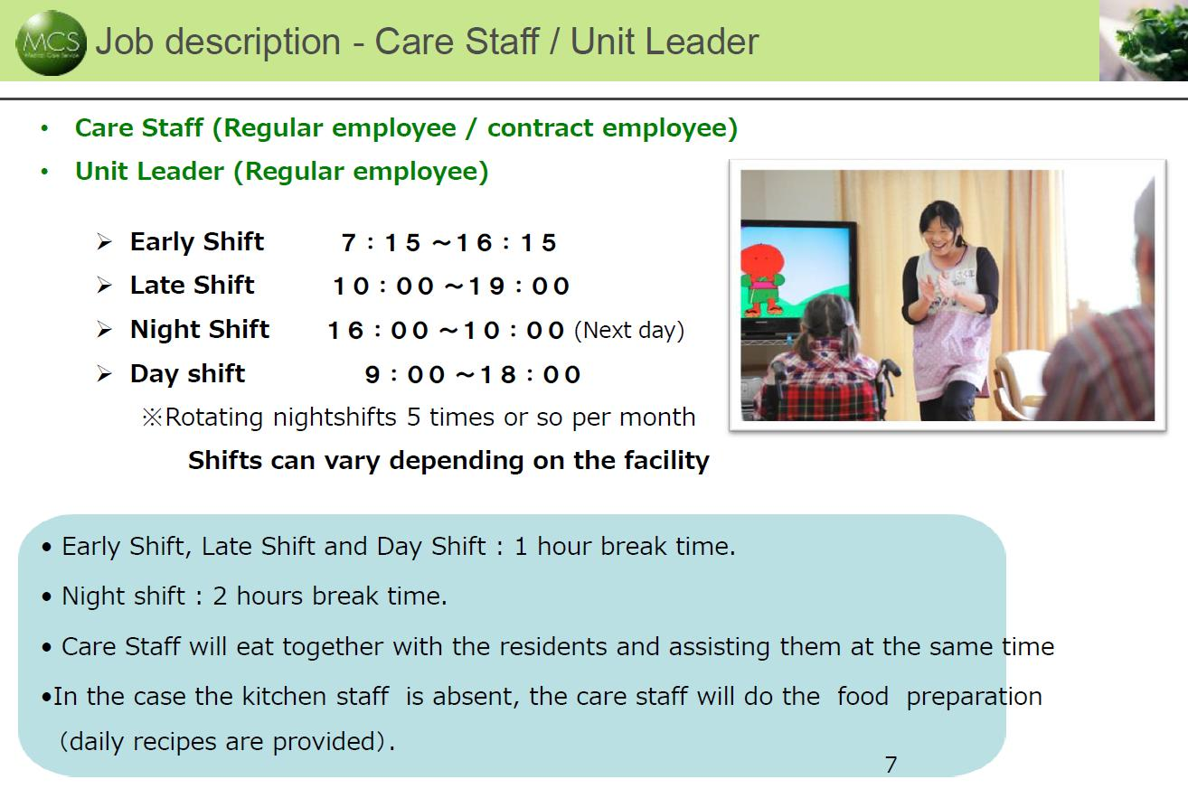 Care giver job at a Aging home